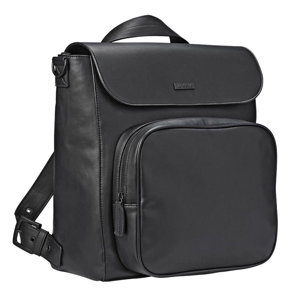 JJ Cole Nappy Bag Backpack Brookmont Black Vegan Leather