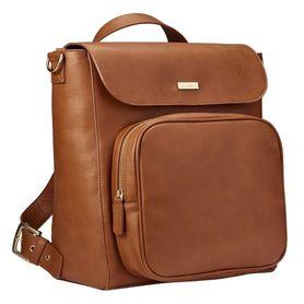 JJ Cole Nappy Bag Backpack Brookmont Cognac Brown Vegan Leather