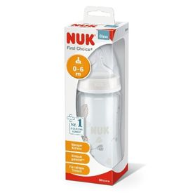 NUK First Choice Plus Bottle - Glass - 240ml - 0-6Months - Assorted