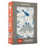 Weegoamigo Muslin Wrap Dino Blue image 0
