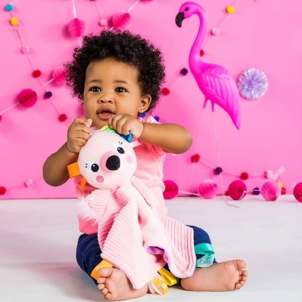 Bright Starts Cuddle N' Tags Blankie Flamingo image 3