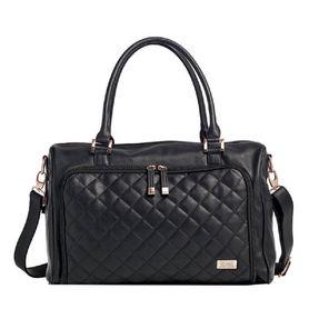 Isoki Double Zip Satchel Nappy Bag - Onyx Quilted Black