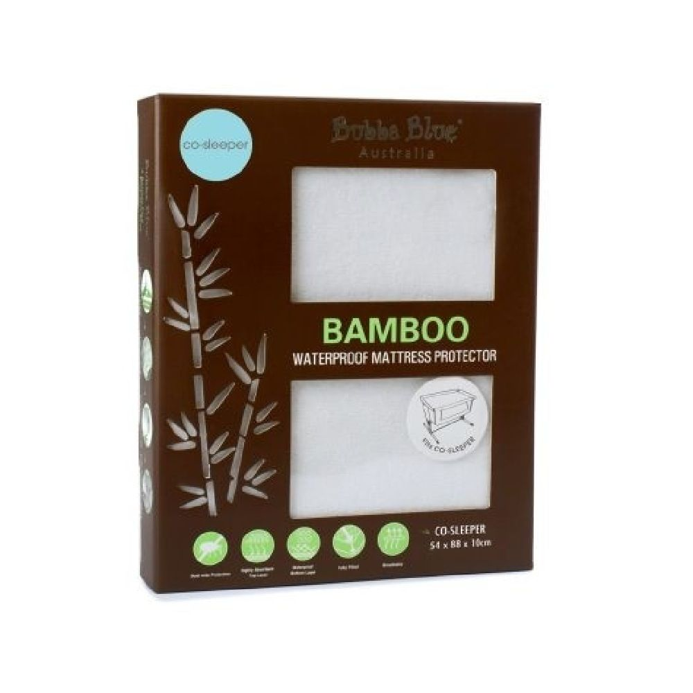 Bubba Blue Bamboo Towelling Mattress Protector Co-Sleeper White
