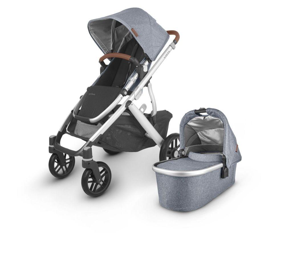 Uppababy Vista V2 Stroller Blue Melange / Silver / Saddle Leather (Gregory) image 0