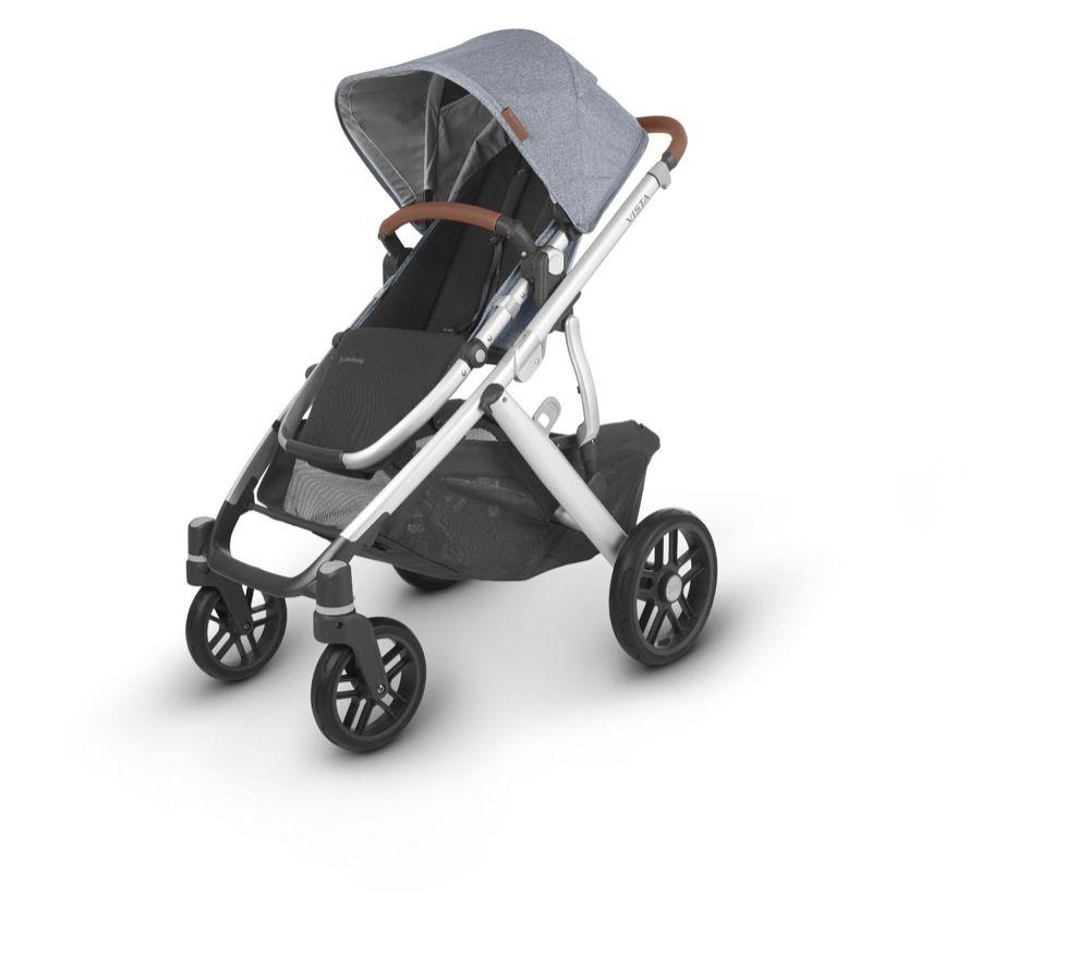 Uppababy Vista V2 Stroller Blue Melange / Silver / Saddle Leather (Gregory) image 1
