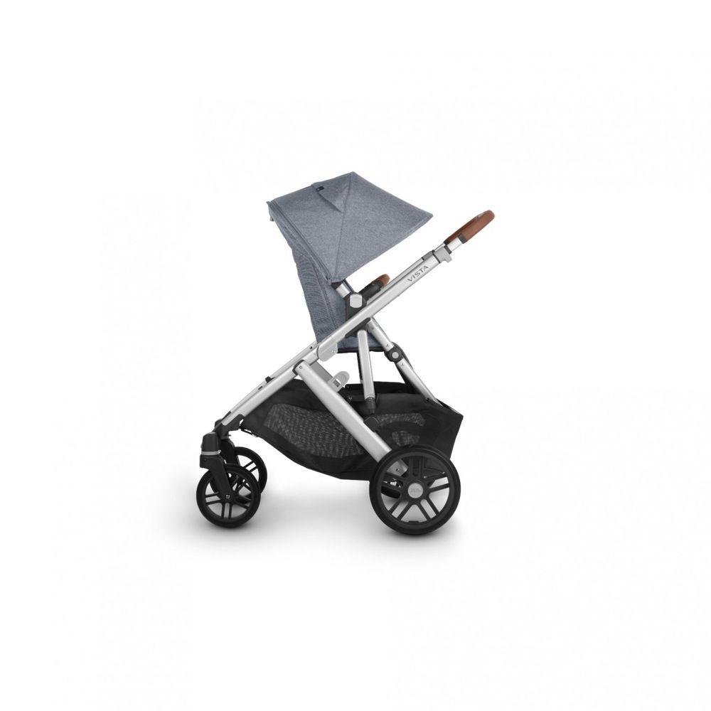 Uppababy Vista V2 Stroller Blue Melange / Silver / Saddle Leather (Gregory) image 3