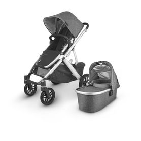 Uppababy Vista V2 Stroller Charcoal Melange / Silver / Black Leather (Jordan)