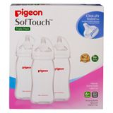 Pigeon Wide Neck PP Bottle with SofTouch Peristaltic Plus Teat - 330ml - 3 Pack image 0