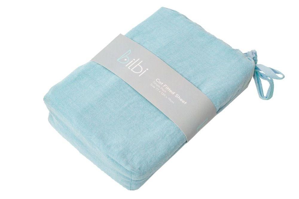 Bilbi Chambray Cot Fitted Sheet Aqua