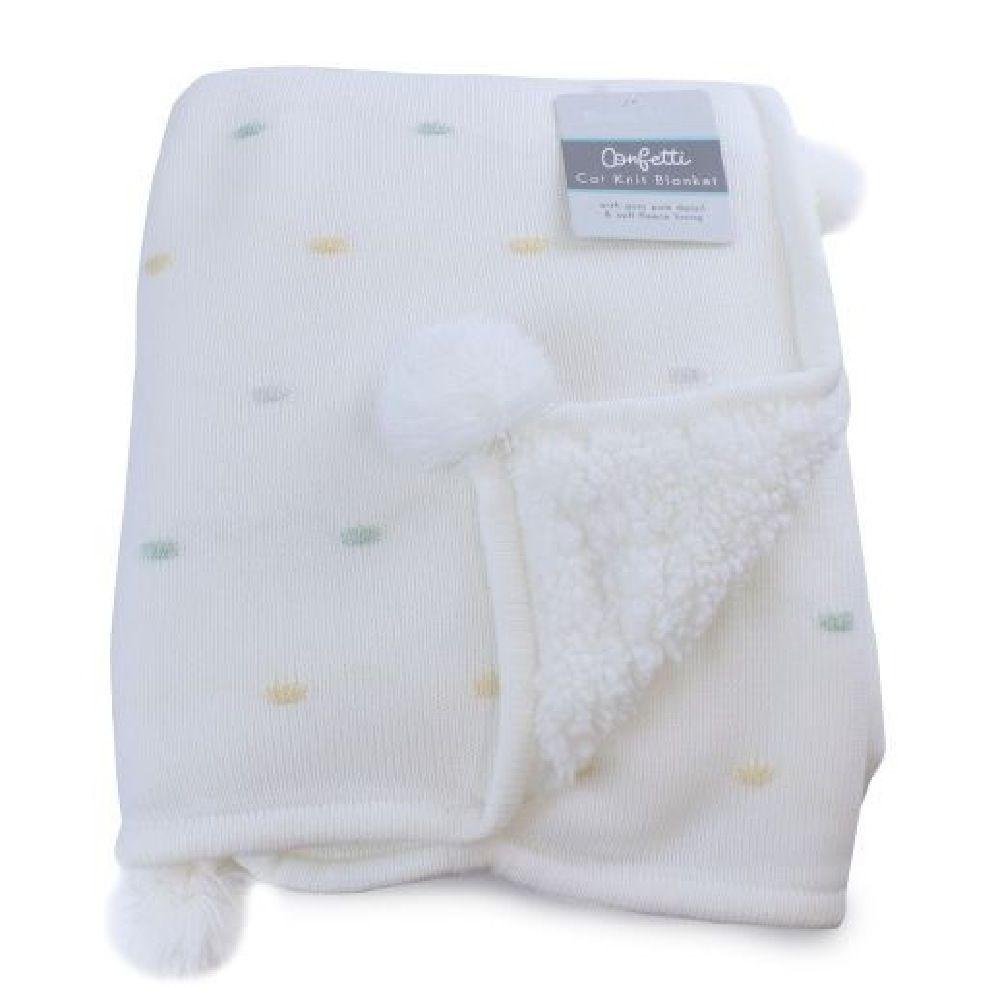 Bubba Blue Confetti Knit Cot Blanket White