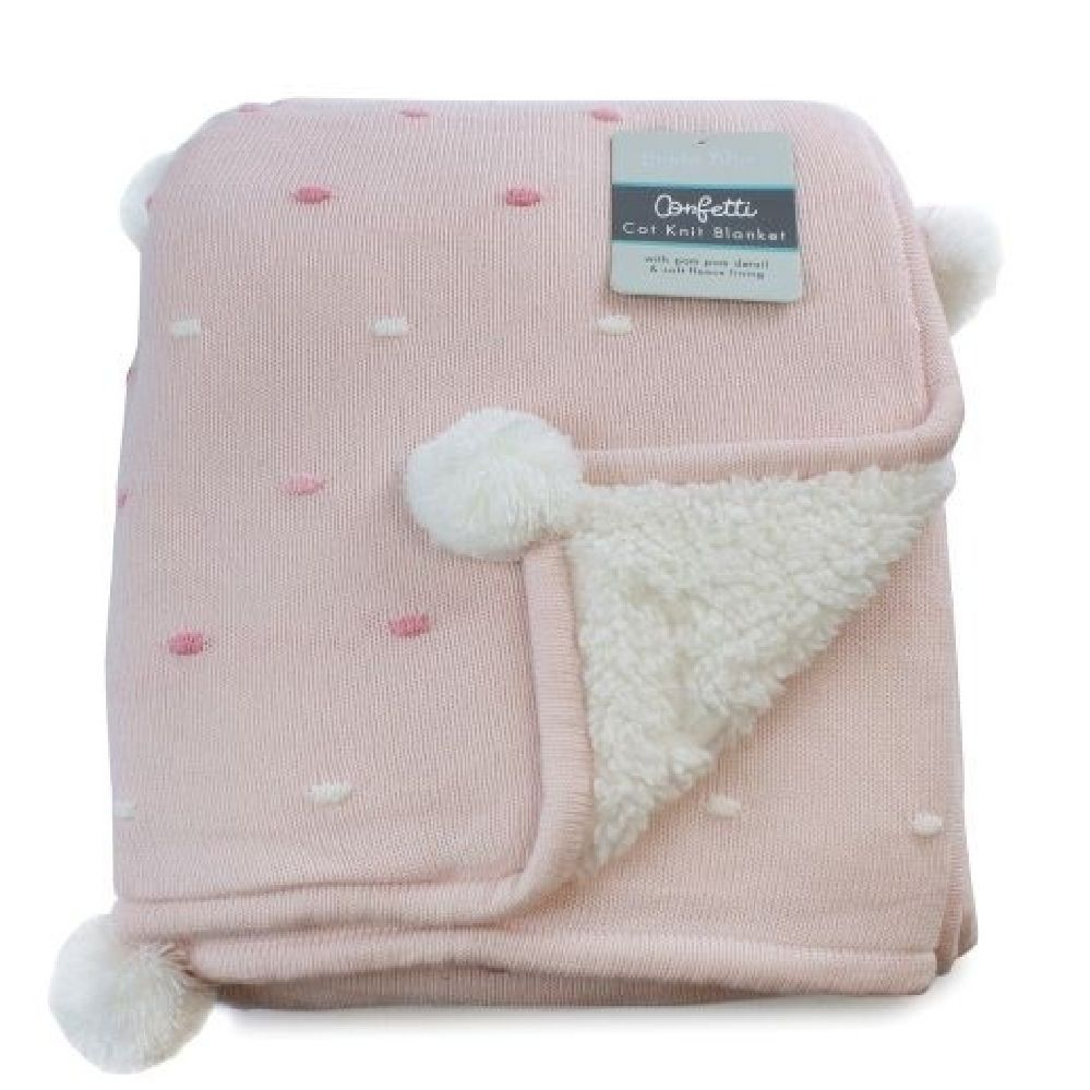 Bubba Blue Confetti Knit Cot Blanket Pink