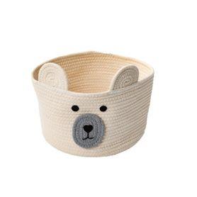 Bilbi Cotton Rope Basket Bear White Small