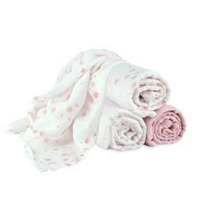 Little Bamboo Muslin Wrap Dusty Pink 3 Pack