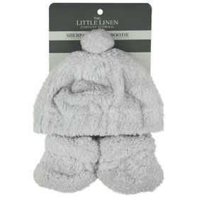 The Little Linen Company Sherpa Beanie & Bootie Drizzle Grey
