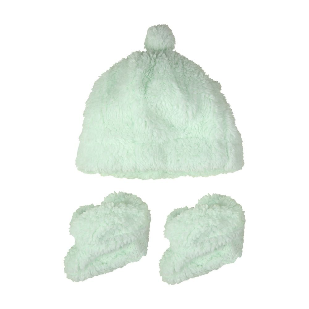 The Little Linen Company Sherpa Beanie & Bootie Muted Mint