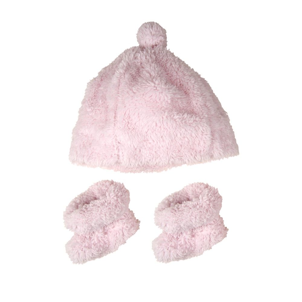 The Little Linen Company Sherpa Beanie & Bootie Pastel Pink
