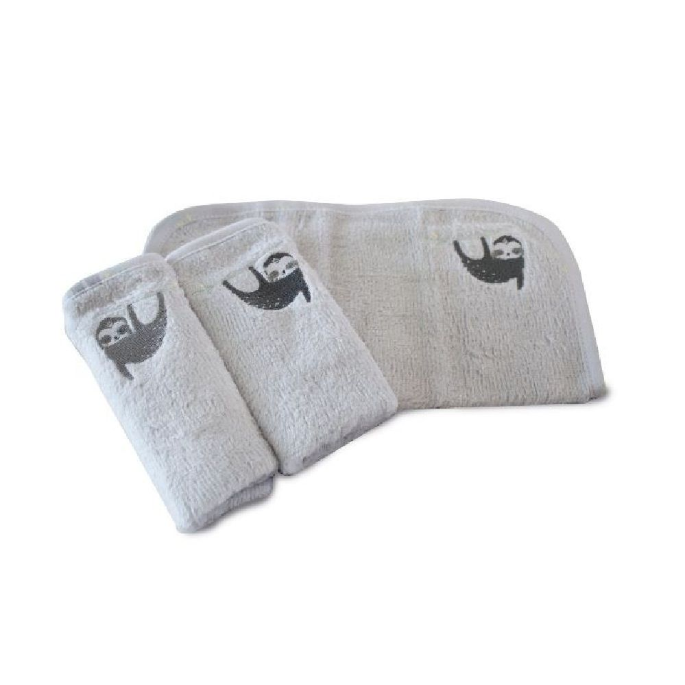 Bubba Blue Sloth Wash Cloth Grey 3 Pack