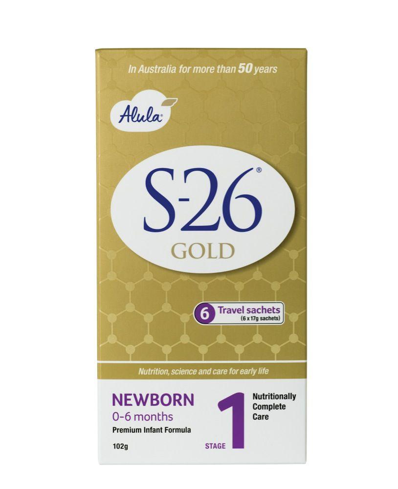 S-26 Gold Alula Formula Newborn to 6 months Stickpack 6 x 17g