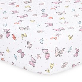 The Peanut Shell Whisper Butterfly Cot Fitted Sheet Butterfly