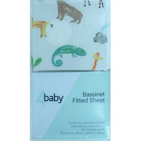 4Baby Bassinet Fitted Sheet Safari 2 Pack