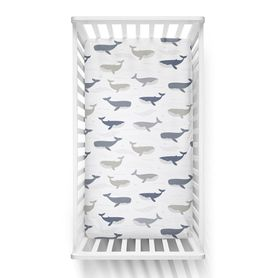 Lolli Living Oceania Cot Fitted Sheet Whales