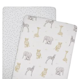 Living Textiles Savanna Co-Sleeper Fitted Sheet 2 Pack