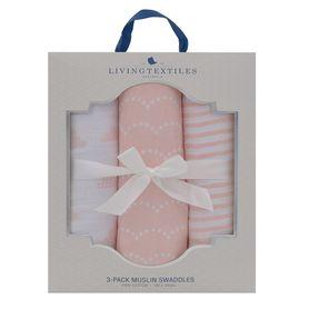 Living Textiles Muslin Wrap 3 Pack Blush