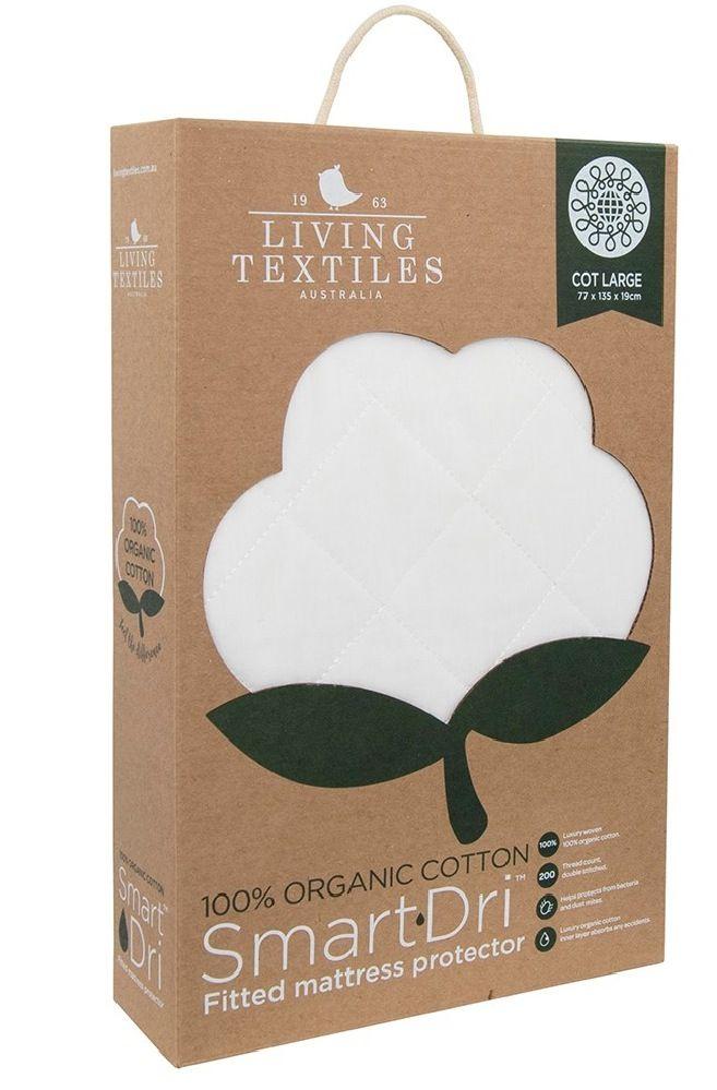 Living Textiles Smart-Dri Organic Mattress Protector Cot Large White