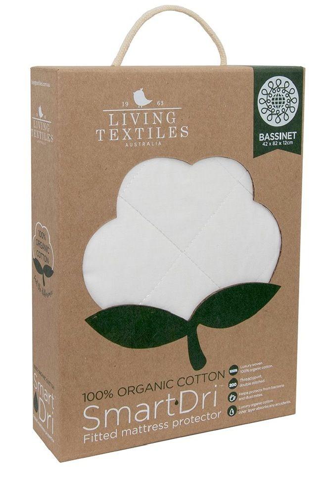 Living Textiles Smart-Dri Organic Mattress Protector Bassinet White