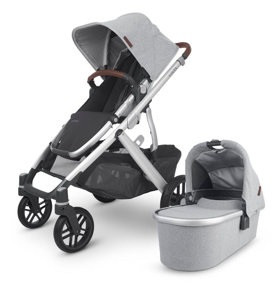 Uppababy Vista V2 Stroller Grey Brushed Mélange/ Silver/ Chestnut Leather (Stella)