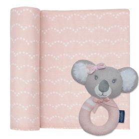Living Textiles Muslin & Rattle Chloe The Koala Blush