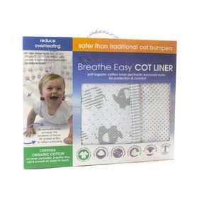 Bubba Blue Breathe Easy Cot Liner Petit Elephant Grey