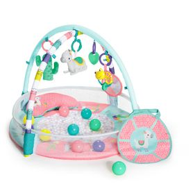 Bright Starts 4-In-1 Rounds Of Fun Activity Gym & Ball Pit Pink