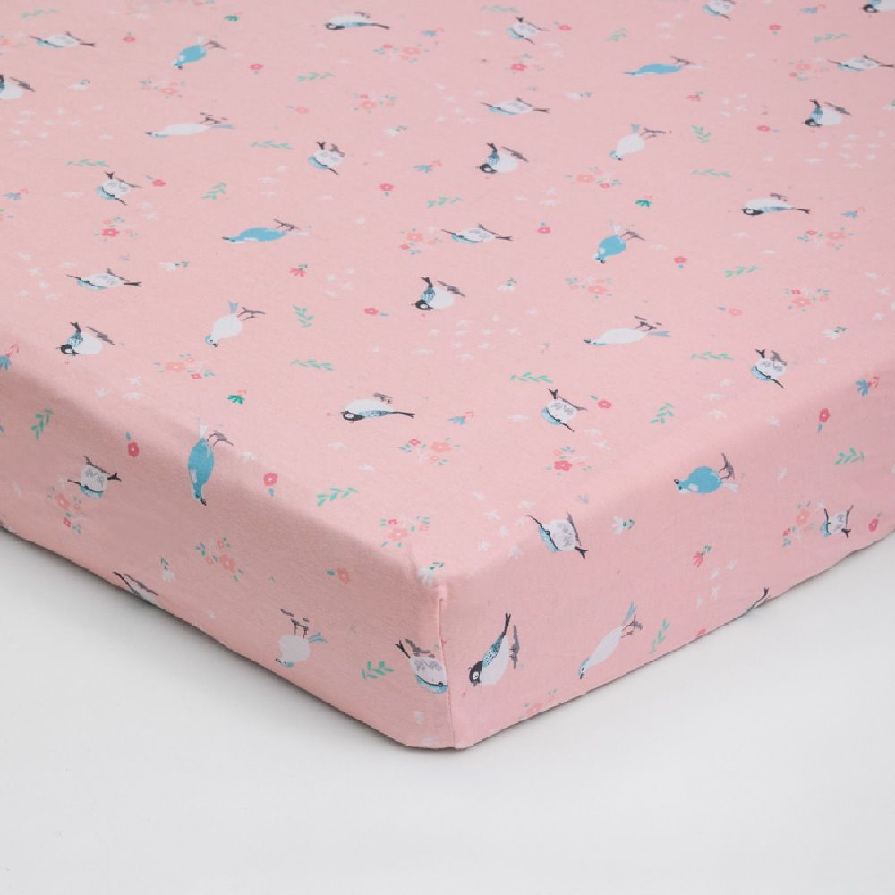 4Baby Jersey Cot Fitted Sheet Birdy Garden 2 Pack