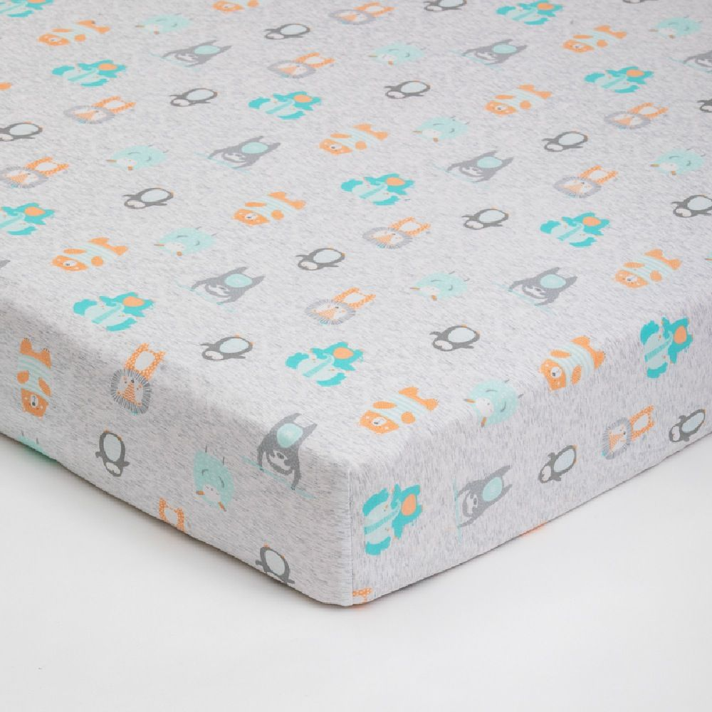 4Baby Jersey Cot Fitted Sheet Little Friends 2 Pack