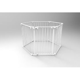 4Baby Metal Playpen and Room Divider with Wall Fix White