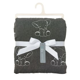 Bilbi Embroidered Cot Quilt Elephant