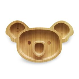 Plum Bamboo and Silicone Suction Sectioned Plate - Koala - Olive
