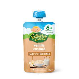 Raffertys Puree Pouch 120g Vanilla Custard