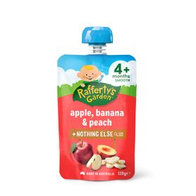 Raffertys Smooth Pouch 120g Apple / Banana / Peach