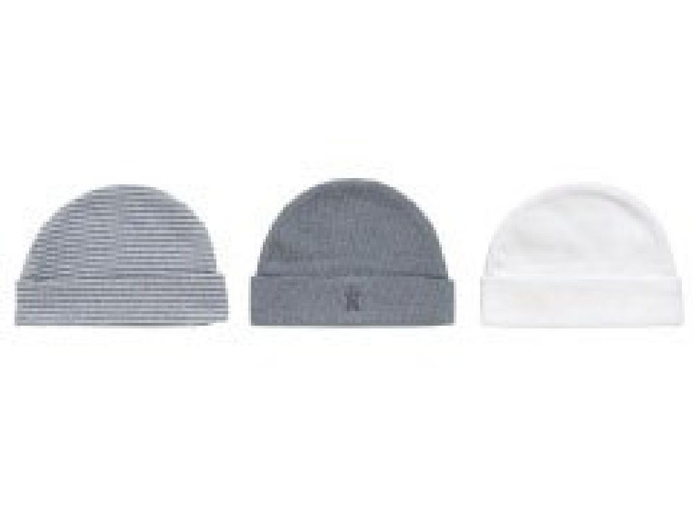 Playette NB Knit Cap 3 Pack Grey / White image 0