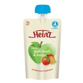 HEINZ Simply Pureed Apple & Peach 4+ Months 120g