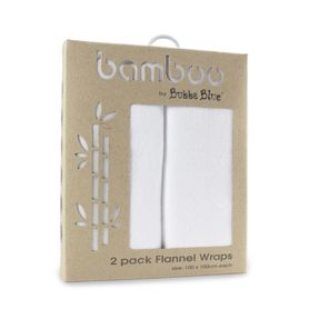 Bubba Blue Bamboo Flannel Wrap White 2 Pack