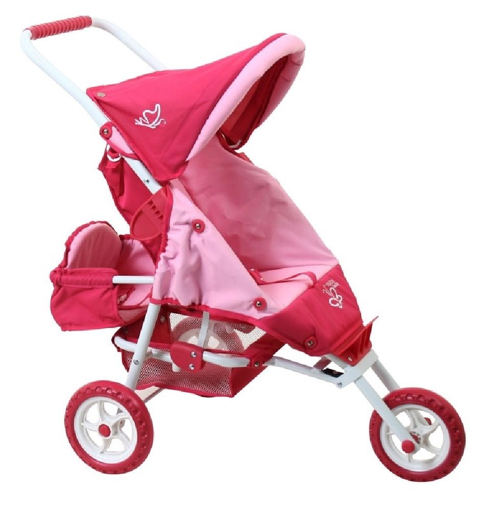Valco Mini Marathon Doll Pram With Toddler Seat Butterfly Pink image 0