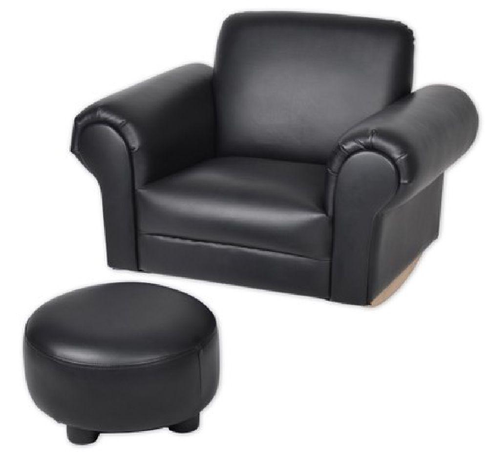 4Baby Kids Arm Chair & Ottoman - Black