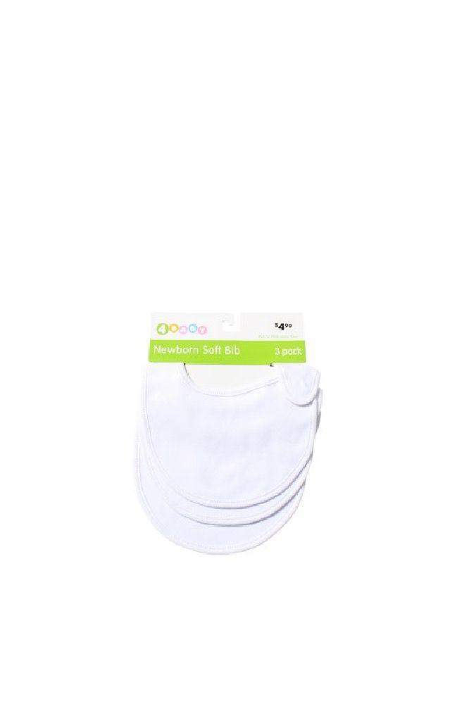 4Baby Newborn Soft Knit Bibs White 3 Pack image 0