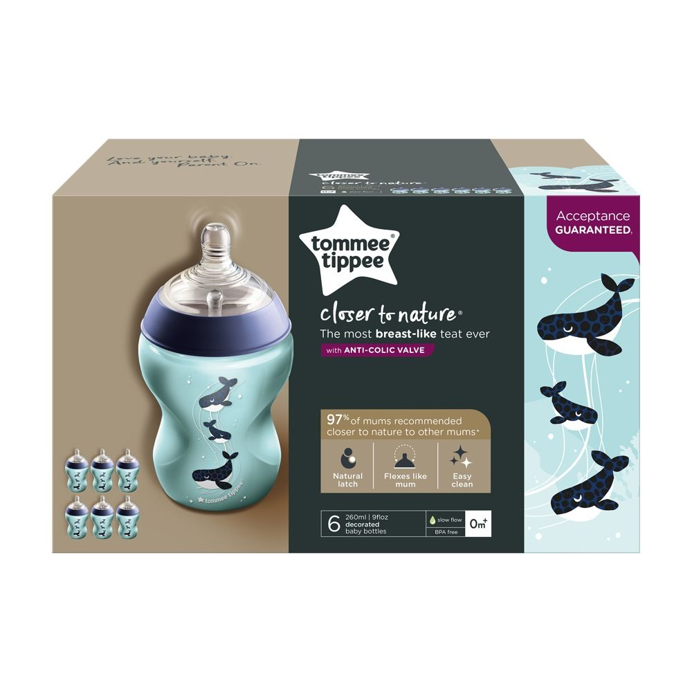 Tommee Tippee Closer To Nature Deco Bottle - 260ml - Boy - 6 Pack image 1