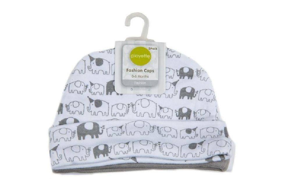 Playette Newborn Caps Grey 3 Pack image 0