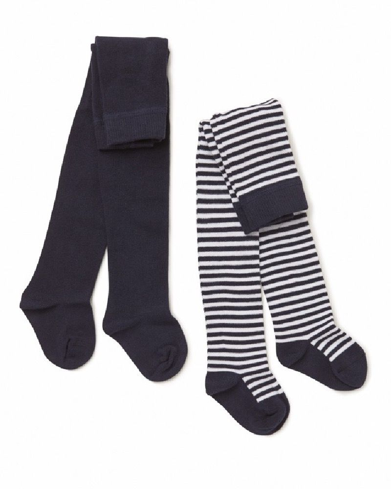 Marquise Knit Tights 2 Pack Navy / White Stripe