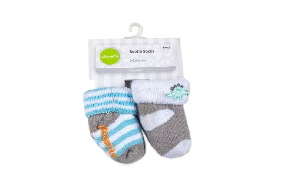 Playette Newborn Bootie Sock 0-3 Months Blue 2 Pack image 0
